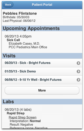 Patient Portal Upcoming Appointments